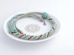 Bead Crochet Necklace Prairie for women summer by Chudibeads, $55.00
