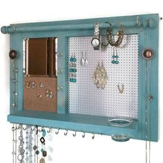 All-in-One Jewelry Organizer - Wooden Wall Hanging Jewelry Shelf with Mirror (space saver)