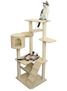 OxGord 8 Level Condo Cat Tree House with Scratching Post, Hammock Bed, Pet Toy and Ropes, (22 x 54 x 20)–Inches, Brown -- More info could be found at the image url. (This is an affiliate link) #MyCat
