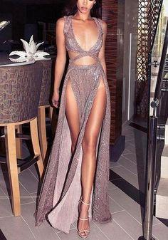 Pink Plain Cut Out Sequin Plunging Neckline Fashion Maxi Dress 26fa7c71b