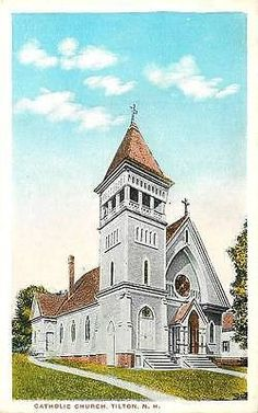 Tilton New Hampshire NH 1920s Catholic Church Antique Vintage Postcard