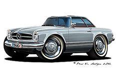 Mercedes W113 - 230 SL - (1965) Motorcycle Art, Bike Art, Suzuki Motocross, Cool Car Drawings, Truck Art, Car Illustration, Car Sketch, Automotive Art, Car Tuning