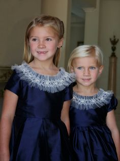 Navy silk and hand smocked tulle collar. Isabel Garretón Special Occasion Collection Optional colors, red or black for the Holidays, white, ivory or soft pink for weddings.