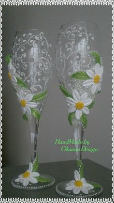 White champagne wedding glasses with a beautiful by ToujourGlamour, $65.00
