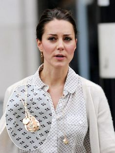 An eye-catching baby boy pendant the Duchess was spotted wearing during a shopping trip to Zara. It's a Merci Maman necklace from Pippa.