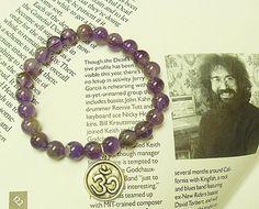 SALE Violet Fluorite Purple Om Bracelet     by sherrishempdesigns