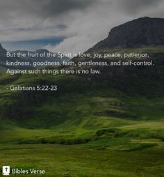 But the fruit of the Spirit is love, joy, peace, patience, kindness, goodness, faith, gentleness, and self-control. Against such things there is no law. Galatians 5:22-23