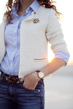 Leopard, stripes and stitching. Prep chic.