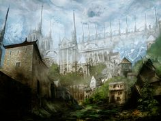 A Medieval Town by Narandel on DeviantArt Fantasy Paintings, Cool Paintings, Cool Artwork, Fantasy Town, Fantasy Art, Savage Worlds, Fantasy Inspiration, Story Inspiration, Writing Inspiration