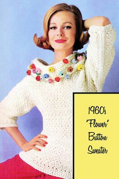 Vintage Crochet Pattern 1960s Big Collar Mod Lacy Sweater Flower Buttons Digital Download PDF