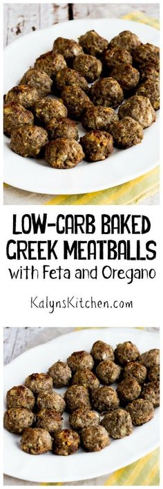 Low-Carb Baked Greek Meatballs with Feta and Oregano are delicious as an appetizer, or serve them as a low-carb main dish with Greek Salad and Tzatziki Sauce!