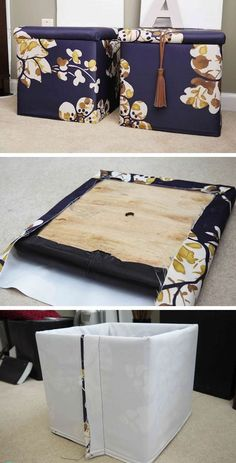 DIY Custom Storage Ottomans | Click Pic for 25 DIY Small Apartment Decorating Ideas on a Budget | Organization Ideas for Small Spaces