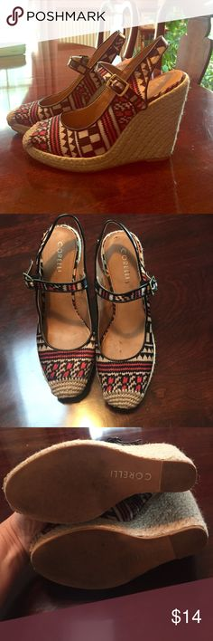 Closed toe, coral black and cream wedges Gently worn, closed toe wedges. Great for spring or fall! Corelli Shoes Wedges