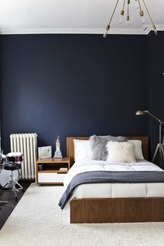 Dark Blue Wall Paint scandinavian bedroom with dark blue wall | bedroom - blog