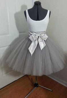 Custom Made Adult Silver Tulle Tutu Style Skirt by JoanneHandmade