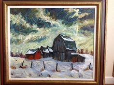 The only winter scene painting I have of my uncle's Winter Scene Paintings, Old Cabins, Algonquin Park, His Travel, Peterborough, Winter Scenes, Old Houses, Ontario, Gothic
