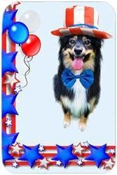 """Australian Shepherd Black Tri Tempered Large Cutting Board 4th of July by Doggie of the Day. $39.99. Dishwasher Safe. Please allow 4 days to ship. Durable. 15.74"""" x 11.8"""" x 5/32"""". Spice up your kitchen with a fabulous cutting board! These cutting boards are perfect for home chef's and restaurant owner's alike. This is a specially coated glass cutting board that is durable and dishwasher-safe."""