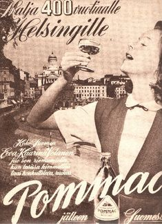 Pommac-mainos (Eeva-Kaarina Volanen)/1950 Retro Ads, Vintage Ads, Vintage Posters, Map Pictures, Good Old Times, Old Ads, Helsinki, Historian, Ancient History