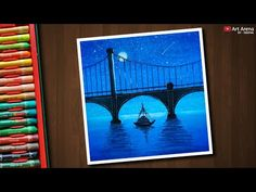 Night Bridge scenery drawing with Oil Pastels - step by step - YouTube