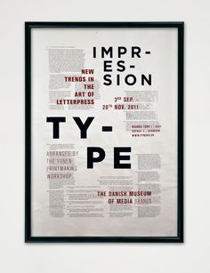 Screen printed poster [Designer - Michael Hansen]. I like the screen printed overlay of type in the poster.