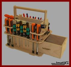 Wood Tool Box, Wood Tools, Tool Organization, Tool Storage, Tool Tote, Home Workshop, Wine Rack, Projects To Try, Woodworking