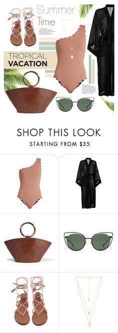 """Summer Time"" by karolinapl ❤ liked on Polyvore featuring Marysia Swim, ISABEL BENENATO, The Row, Fendi and Natalie B"
