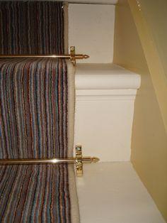 Velvet stipe brass rod Russdales Stair Rods, Carpet, Stairs, Velvet, Brass, House, Ideas, Stairway, Staircases