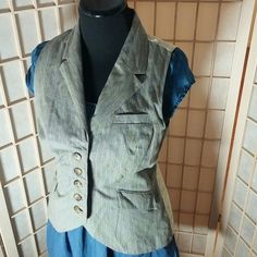 """CAbi striped vest steampunk Victorian brocade Awesome vest by CAbi w excellent detailing.  Striped front w faux pockets. Old fashioned looking marbled buttons. Back features rich brocade in yellow with flattering belt-like deal with matching buttons. The inside is lined with iridescent paisley pattern. 95% cotton 5% metal thred. Contast 100 polyester. Lining 100% polyester. Steampunk. Old fashioned. 25"""" long from top of collar in back down to edge. CAbi Jackets & Coats Vests"""