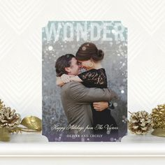Wonder Overlay - #Holiday Photo Cards in Peppermint Blue with ticket trim option