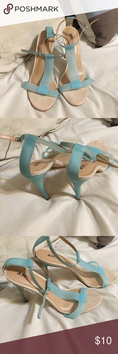 JustFab strap heels in blue colored straps JustFab strap heels in blue colored straps. Wore once JustFab Shoes Heels