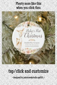 Watercolor Deer Baby's First Christmas Photo Ceramic Ornament - tap, personalize, buy right now! #CeramicOrnament #baby&39;s #first #christmas, #1st #new