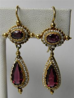 Antique Victorian Etruscan Revival style Earrings ~ Gold Garnet and Seed Pearl Teardrop Dangle Earrings Garnet Jewelry, Turquoise Jewelry, Gold Jewelry, Fine Jewelry, Tiffany Jewelry, Yellow Jewelry, Gold Bracelets, Charm Bracelets, Jewelry Art