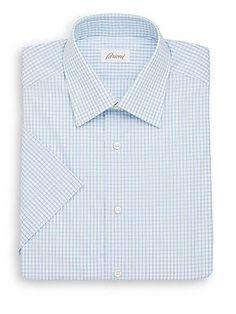 Brioni Regular-Fit Mini-Check Cotton Dress Shirt - Green - Size