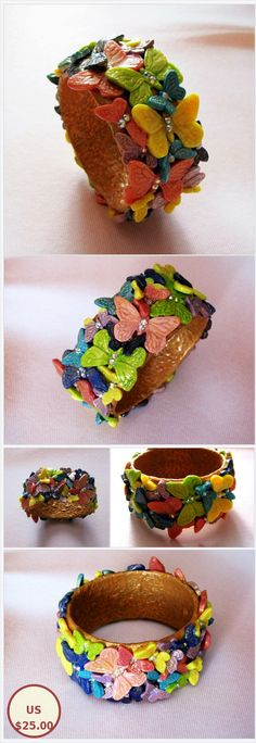 Bracelet Butterfly Cuff Bracelet polymer clay bangle clay jewelry fashion jewelry polymer clay bracelet Gift for her jewelry gift Rainbow Insect Jewelry, Clay Jewelry, Jewelry Gifts, Jewelery, Gifts For Friends, Gifts For Her, Etsy Handmade, Handmade Gifts, Polymer Clay Bracelet