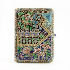 Russian shaded cloisonné enamel cigarette case by Varvara Baladanova Vintage Cigarette Case, Enamel, Jewels, Antiques, Boxes, Metal, Silver, Polymer Clay, Beautiful Things
