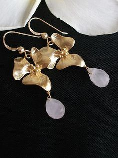 Rose earrings Pink Earrings Orchid earrings Quartz 14k by AnnTig, $29.95