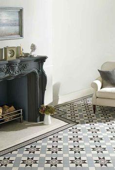 Victorian grey and black floor tiles