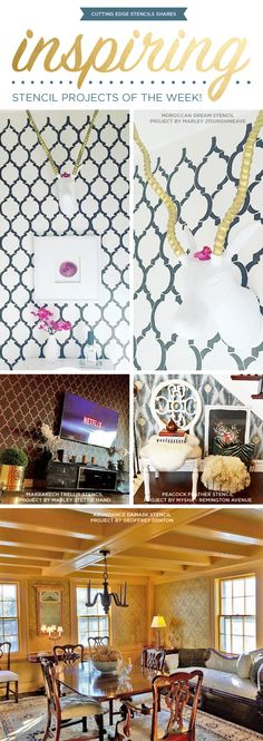 Cutting Edge Stencils shares DIY stenciled room and accent wall ideas. http://www.cuttingedgestencils.com/wall-stencils-stencil-designs.html