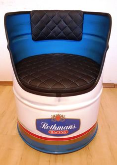 Rothmans Racing oil drum chair SEE EBAY LISTING >> https://rover.ebay.com/rover/1/710-53481-19255-0/1?ff3=4&toolid=11800&pub=5574630816&campid=5337960331&mpre=http%3A%2F%2Fwww.ebay.co.uk%2Fitm%2FRothmans-Racing-motorsport-oil-drum-chairfurnitureseatcollector-itemretro-%2F252764841168 #mancave #repurposed #petrolhead #automobilia #motorsports
