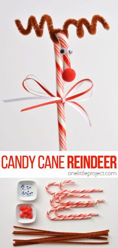These candy cane reindeer are so easy to make! All you need are a simple craft materials and you'll be all set! Make them for the Christmas tree, or as treats to send to school, or just as a fun craft with the kids. They're really simple, and next to impossible to mess up!