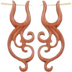 Flowing African wood carved earrings