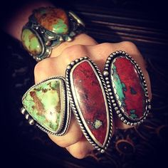 New rings hitting the Silver Raven Studio etsy shop soon!  Royston Turquoise, Cuprite & Sonora Sunrise.  Link in Bio.