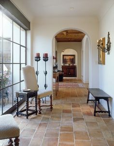 Country French Saltillo Tile Design Ideas, Pictures, Remodel, and Decor - page 3. These floor tiles are antique parfieulle tiles which are salvaged ceiling tiles typically found in France, Italy or Spain. There are new ones available hand finished similar to the originals.""