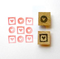 Mini hearts rubber stamp set of 2 - hand carved and wood mounted - gifts under 10. $10.00, via Etsy.
