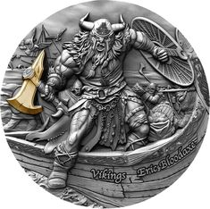 ERIC BLOODAXE Vikings 2 Oz Silver Coin 5$ Niue 2020 Viking Countries, Vikings 2, Viking Series, Gold Gilding, Silver Coins, Antique Silver, Pure Products, It Is Finished