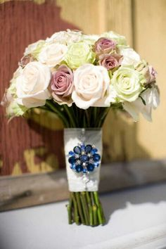 Bridal bouquet with something blue