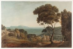francis towne - naples and capri, watercolour on paper (tate, london, the oppé collection) Watercolor Landscape, Landscape Paintings, Oil Paintings, Women's March On Versailles, Paris In October, Royal Collection Trust, Italy Tours, International Artist, Grand Tour