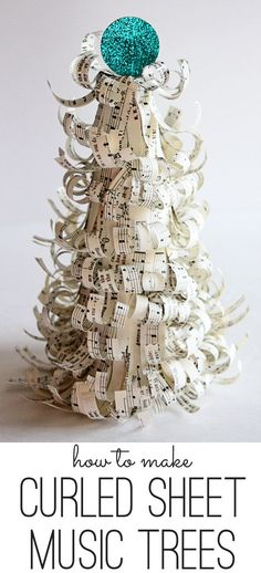 Curly Sheet Music Trees.  LOVE for christmas!  Would use book pages instead of sheet music.