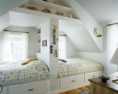 Twin girls bedroom of white painting design prepare two beds adjacent and designed like a miniatur house