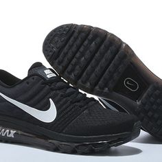 hot sales 7f97a 7b7da Nike Air Max 2017 Women Men Black White Logo Shoes